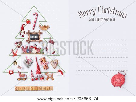 Merry Christmas Greeting Card - Drawn Christmas Tree with Gifts and Xmas Toys on White Background. Place for Text.