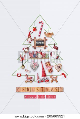 Merry Christmas Greeting Card - Drawn Christmas Tree with Gifts and Xmas Toys on White Background.