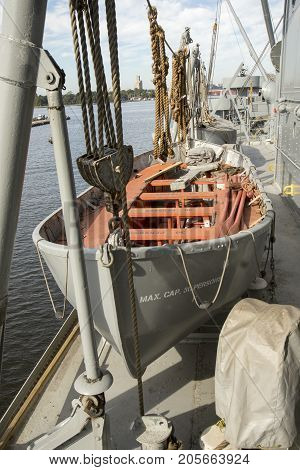 Life Boat On Deck Of Liberty Ship