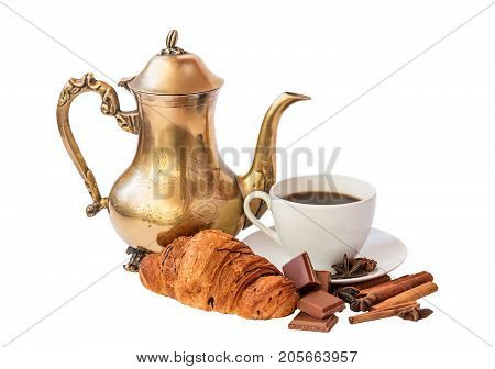 Cup of coffee and coffee pot isolated on white background. Selective focus