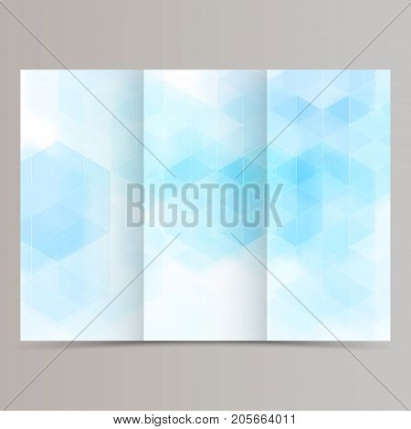 clean minimal tri-fold brochure flyer leaflet design with blue hexagon.Vector eps10