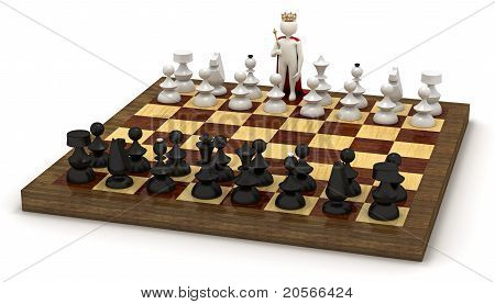 3D Man On Chess Board As King