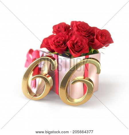 birthday concept with red roses in gift isolated on white background. 3D render - sixty-sixth. 66th.