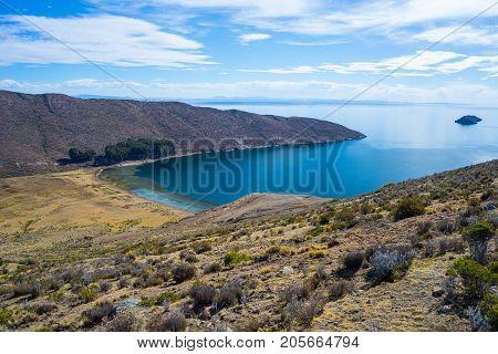 Scenic Dramatic Landscape On Island Of The Sun, Titicaca Lake, Among The Most Scenic Travel Destinat