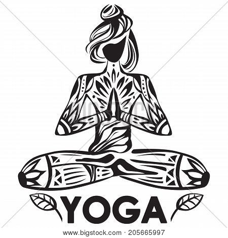 Girl in lotus yoga pose with ornament pattern