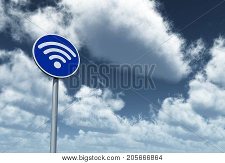 wifi symbol on roadsign under cloudy sky - 3d rendering