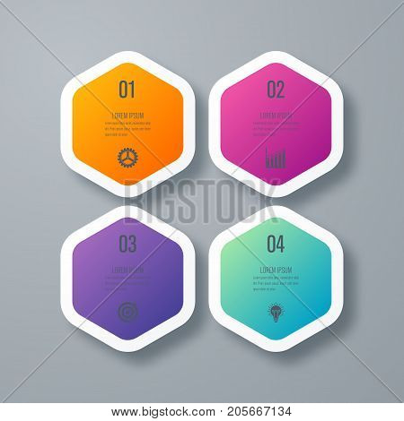 Business infographics template 4 steps with hexagon. Stock vector. Dynamic infographics stylish geometric. element for design business invitations, gift cards, flyers and brochures