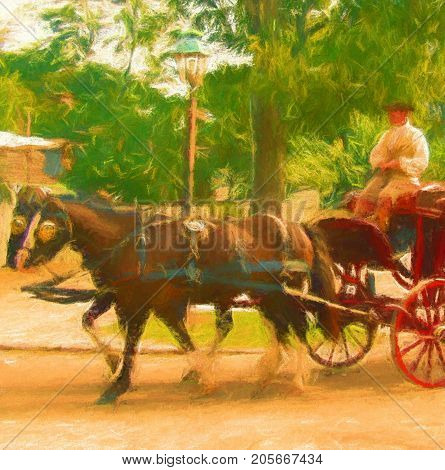 A digitally enhanced photo of a colonial style horse carriage and driver