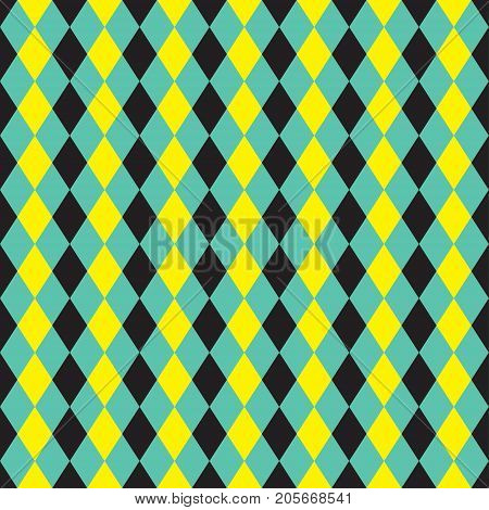 Seamless yellow, turquoise and black argyle pattern background
