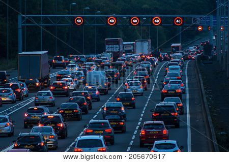 Watford UK - September 24 2017: Evening traffic jam on British motorway M1.M25/M1 junction.