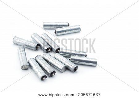 Closeup of pile of used alkaline batteries. Alkaline battery aa size Several heap batteries.