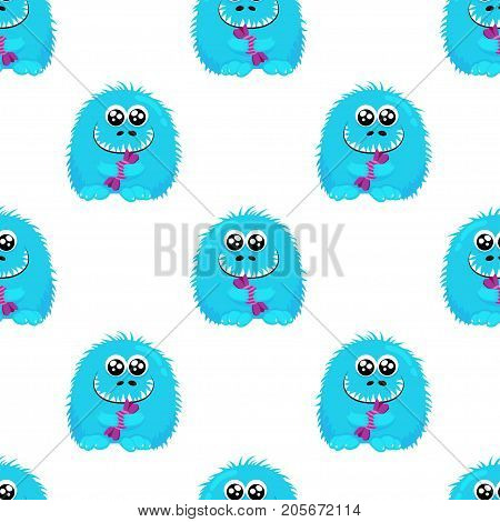 Abstract seamless halloween pattern for girls or boys. Creative vector halloween background with a fluffy cute monster halloween. Funny wallpaper for textile and fabric.Fashion style.Colorful bright halloween picture for children