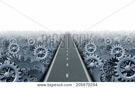Business opportunity way concept and industry success symbol as a straight path with machine gear and cogwheel machine parts as an industry production success metaphor as a 3D illustration on white.