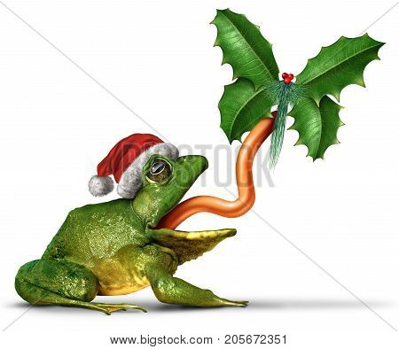Christmas frog with a santa claus hat catching a holly leaf shaped as a butterfly with 3D illustration elements on a white background.