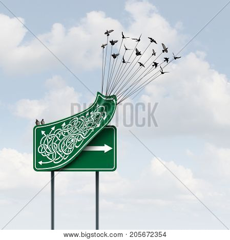 Business way concept as a group of birds lifting up a confused direction sign revealing a clear straight arrow as a solution path metaphor with 3D illustration elements.