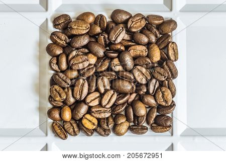 Roasted coffee beans arabica laid out square in a white tray