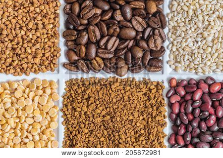 Grocery set: buckwheat roasted coffee beans pearl barley dried peas freeze-dried instant coffee dried seeds of beans.