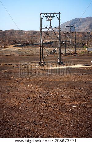 Wooden transportation rigs in Pedra de Lume salt mine. Sal Island. Cape Verde