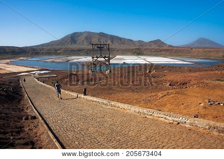 PEDRA DE LUME CAPE VERDE - DECEMBER 12 2015: Major tourist attraction salt beds marshes for floating in salt water. Sal Island. Africa