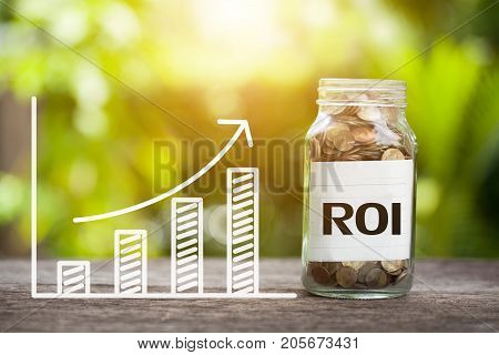 ROI (Return on Investment) Word With Coin In Glass Jar and graph up. Online advertising Concept