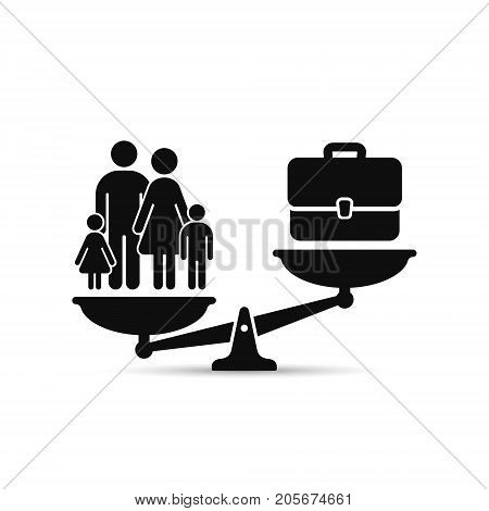 Family or work concept. Case and family on scales work and life balance.