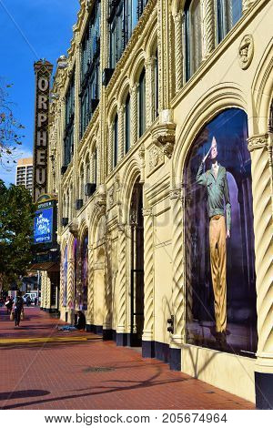 September 19, 2017 in San Francisco, CA:  Historic Orpheum Theatre which opened in 1926 taken in San Francisco, CA where people can watch plays including