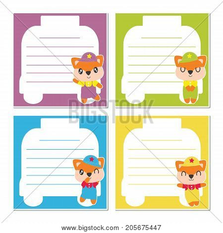 Cute fox boy on colorful frame vector cartoon illustration for kid memo paper design, planner paper and stationery paper