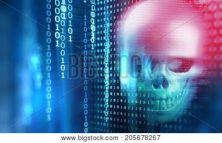 3D Rendering Of Skull On Technology Background
