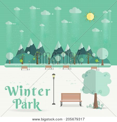 winter Park. Natural landscape in the flat style. a beautiful park.Environmentally friendly natural landscape.Vector illustration