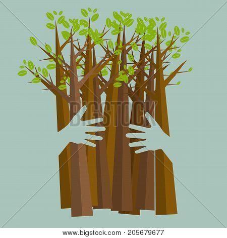Eco friendly hands hug concept green tree.Environmentally friendly natural landscape.Vector illustration