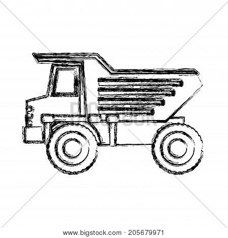 dump truck flat icon monochrome blurred silhouette vector illustration