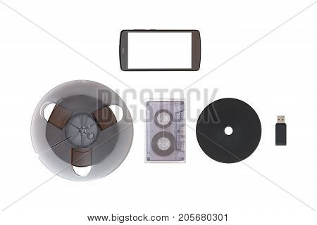 Cd, Usb Flash Drive, Old Tape, Mobile On White Isolated Background