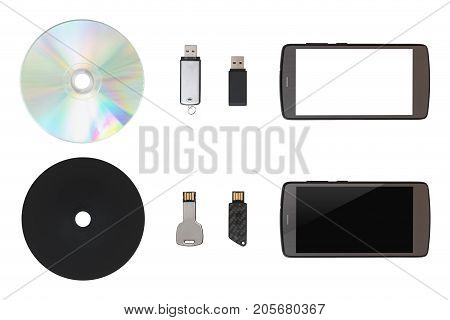 Cd, Usb Flash Drive, Mobile On White Isolated Background