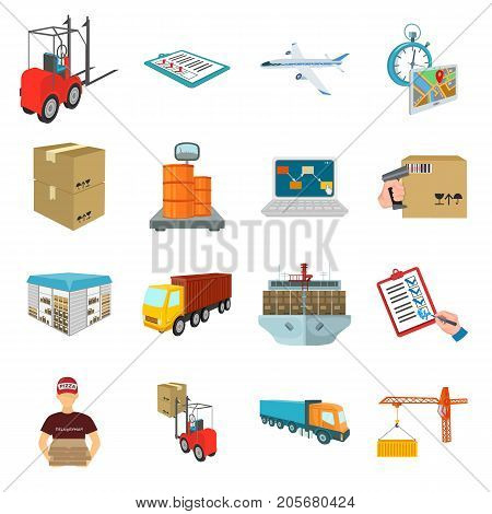 Forklift, cargo plane, goods, documents and other items in the delivery and transportation. Logistics and delivery set collection icons in cartoon style isometric vector symbol stock illustration .