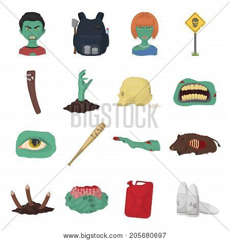 Zombies, man, terrible, and other web icon in cartoon style.Apocalypse, dead, infected, icons in set collection.