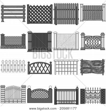 A fence of metal and bricks, wooden palisade and other varieties. A different fence set collection icons in monochrome style vector symbol stock illustration .