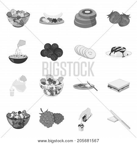 Fruit, dessert, sandwiches and other types of food. Food set collection icons in monochrome style vector symbol stock illustration .
