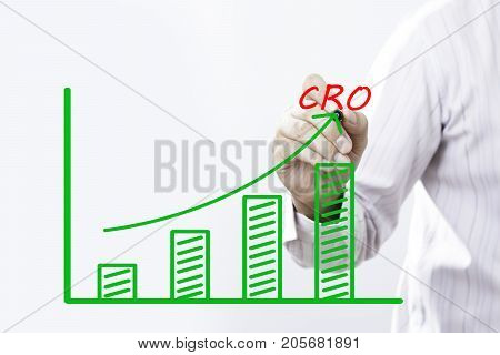 CRO word (Conversion Rate Optimization) with hand of young businessman point on virtual graph green line and bar showing on increasing with background.