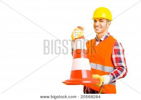 Construction Worker With Traffic Cone