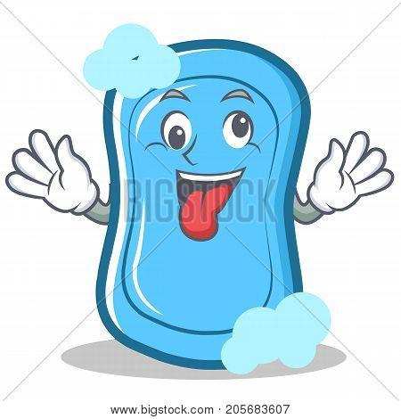 Crazy blue soap character cartoon vector illustration