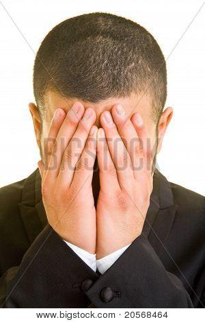 Business Man Hiding His Face