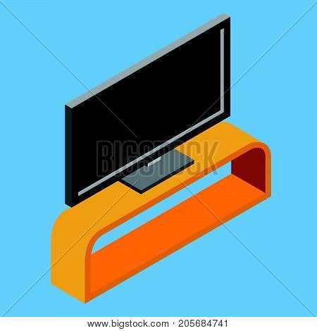 Illustration of black flat screen TV on shelf television set electric home equipment 3d isometric flat design object. Vector Illustration.