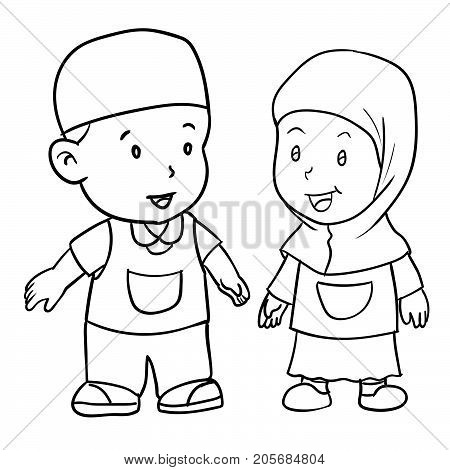 Hand drawing of muslim kids standing isolated on white background. Boy and girl students standing Black and White simple line Vector Illustration for Coloring Book - Line Drawn Vector