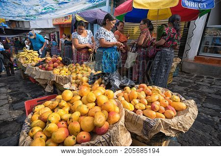 April 24 2016 San Pedro la Laguna Guatemala: the small indigenous town lacks supermarkets most of the produce is sold on the street during the Saturday farmers market
