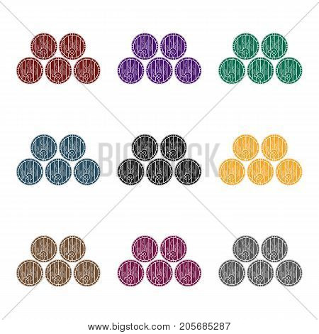 Wine barrels icon in black design isolated on white background. Wine production symbol stock vector illustration.