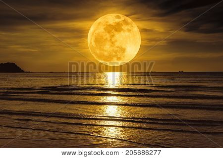 Super Moon. Colorful Sky With Cloud And Bright Full Moon Over Seascape.