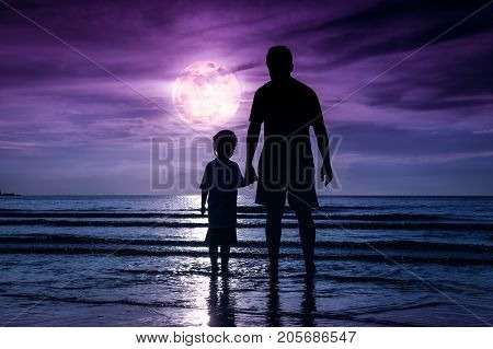 Silhouette Of Child Holding Hands Her Father, Standing In The Sea.