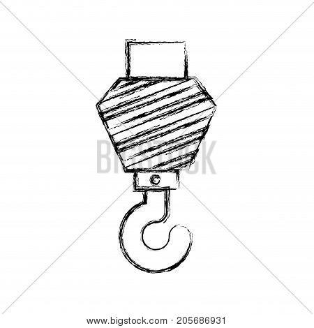 crane hook flat icon monochrome blurred silhouette vector illustration