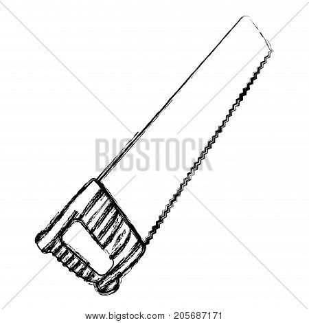 hand saw icon monochrome blurred silhouette vector illustration