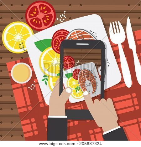 Taking Food Fotos. Hands Holding Smartphone And Taking Fotos Of Salmon Steak Vector Illustration. EPS 10